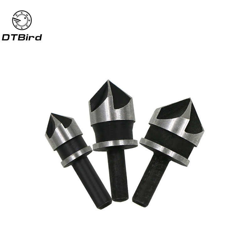 3Pcs 90 Degree 1/4 Hex Shank Countersink Drill Bit 5 Flute 12-19mm Woodworking Chamfer Counter Sink Chamfering Debur Tool Set countersink drill bit 6 pcs 5 flute chamfer countersink 1 4 hex shank hss 90 degree wood chamfering cutter chamfer 6mm 19mm