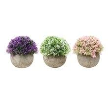 3 шт. Мини Искусственные растения горшках поддельные мяч искусственный цветок мяч завод мини Поддельные завод для украшения Офис