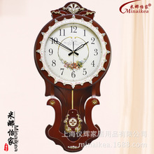 q 24 inches new large sized single side wall clock wooden material electronic quartz clock home