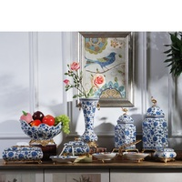 Blue and white porcelain, new Chinese ceramics copper towel box living room coffee table fruit tray modern classical househo