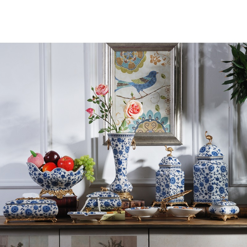 Us 5714 11 Offblue And White Porcelain New Chinese Ceramics Copper Towel Box Living Room Coffee Table Fruit Tray Modern Classical Househo In