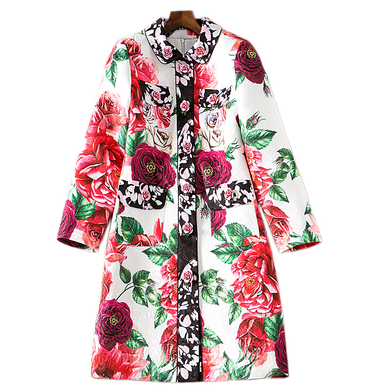 2018 Autumn / Spring Vintage Floral Printed Single Breasted Long Coat European Designer Runway Designer Women   Trench