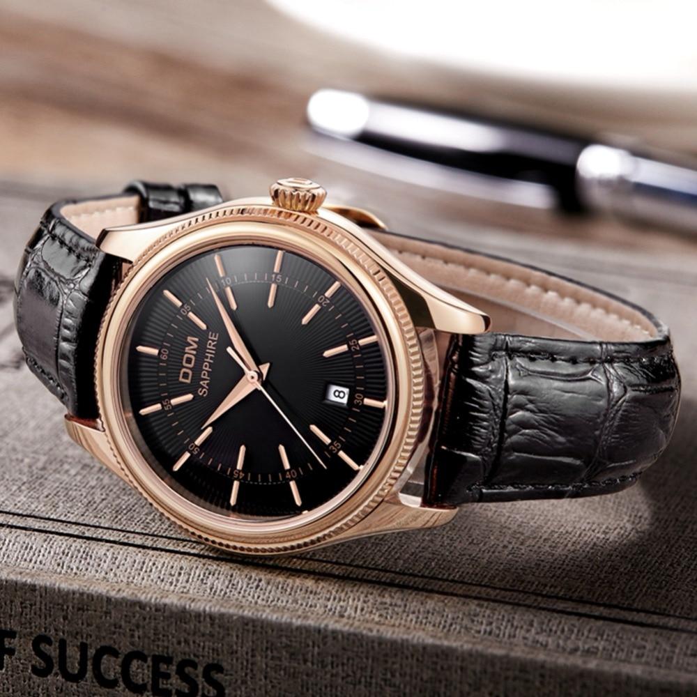 Marque de luxe DOM Top hommes montre professionnelle décontractée étanche calendrier affichage bracelet en cuir montre-bracelet à Quartz hommes 2019 nouveau
