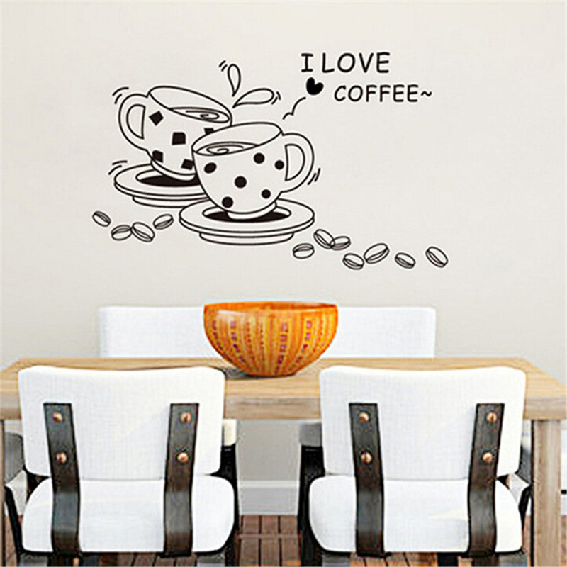 I love coffee wall decals removable wall sticker cute coffee cup kitchen restaurant vinyl home decration wallpaper EJ877319-in Wall Stickers from Home ...  sc 1 st  AliExpress.com & I love coffee wall decals removable wall sticker cute coffee cup ...