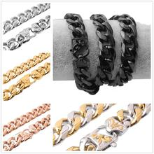 13/15mm 7-40New Stainless Steel Silver/Gold/Rose Gold/Black/Silver Gold Cuban Curb Chain Mens Boys Necklace Or Bracelet Jewelry