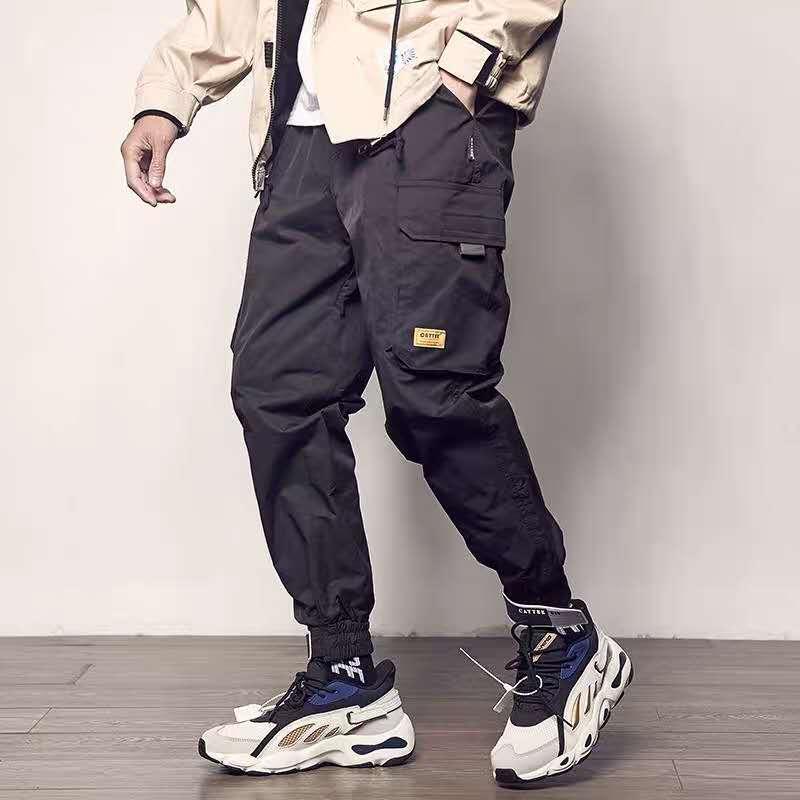 Pockets Cargo Pants Men Color Patchwork Casual 1