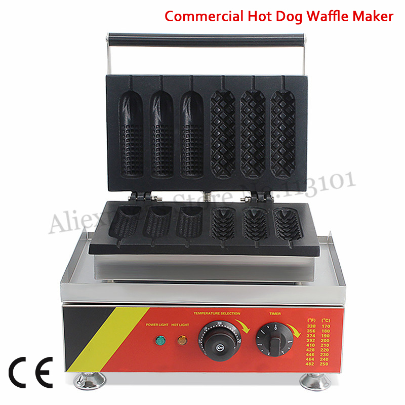 110V 220V Hot Dog Waffle Machine Half French Corn + Half Hotdog Waffle Molds 1500W Sausage Cake Maker Nonstick Cooking Surface