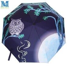 Сова узор Защита от солнца дождь зонтик женский, черный покрытие анти-УФ Зонты три складной зонт