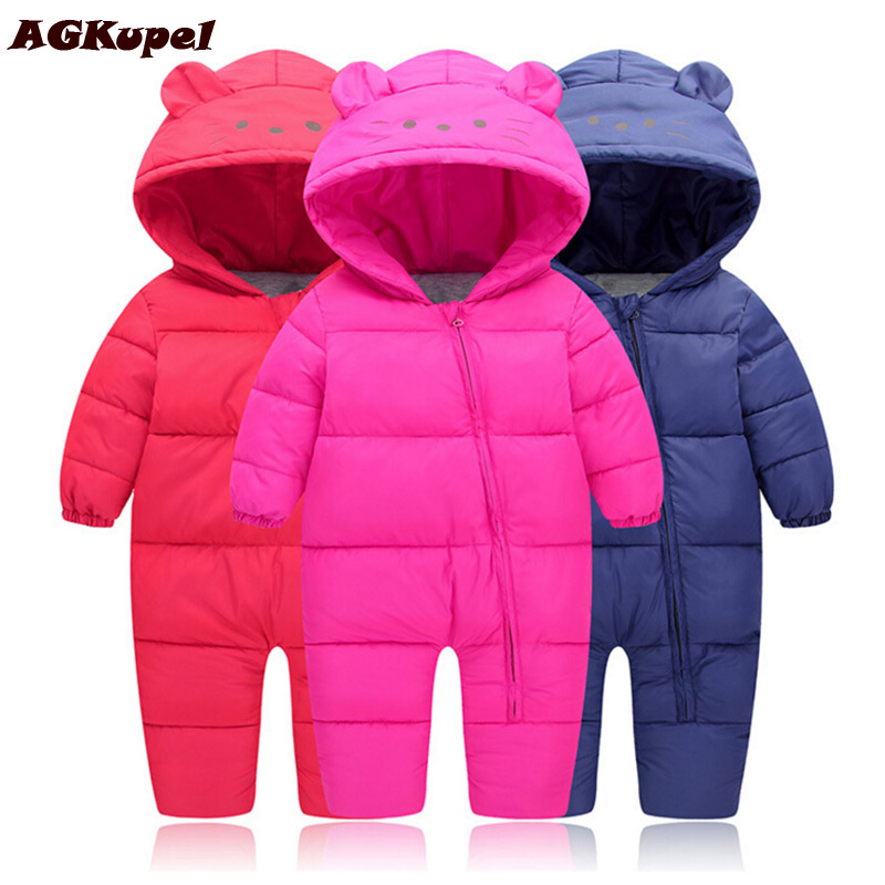 AGKupel New Autumn and Winter Newborn Cotton Clothing Boys and Girls Infant Rompers Clothes Children Conjoined Baby Down Jacket new 2016 autumn winter kids jumpsuits newborn baby clothes infant hooded cotton rompers baby boys striped monkey coveralls