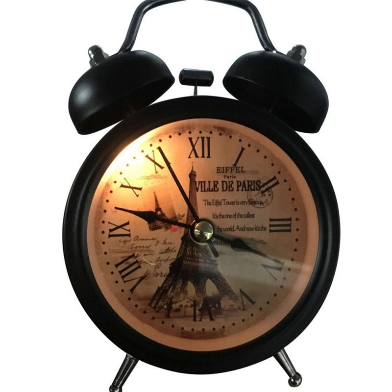 Retro Alarm Clock Round Number showing Bed Desk Table Travel Quartz Plastic Alloy Clock Cute Portable Home Decor 2018 Small