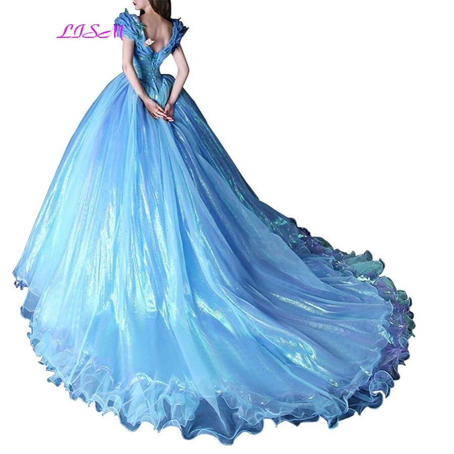 2019 bleu robe de bal robes de bal hors de l'épaule papillon Organza robes de bal Court Train longue princesse robe de soirée gala jurken - 3