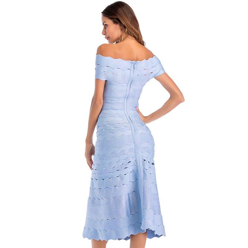 Eleganckie sukienki damskie lato 2019 nowe mody Celebrity klub długa sukienka na imprezę niebieski Hollow Out off shoulder bandażowy sukienka kobiety w Suknie od Odzież damska na  Grupa 3
