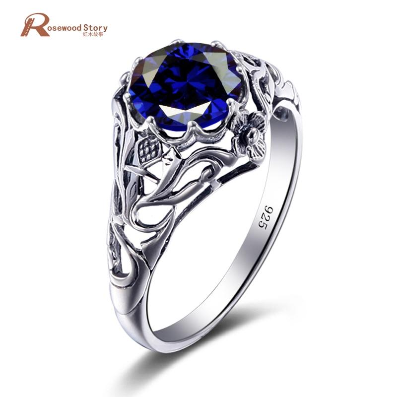 Casamento de luxo 925 Sterling Silver Criado Sapphire Birthstone Setembro de Noivado Promise Anéis Para Mulheres Anel de Jóias Vintage