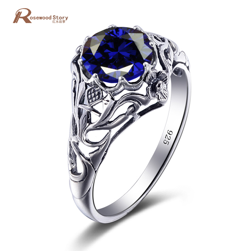 Luxury Wedding 925 Sterling Silver Created Sapphire Engagement Promise Rings For Women September Birthstone Ring Vintage Jewelry
