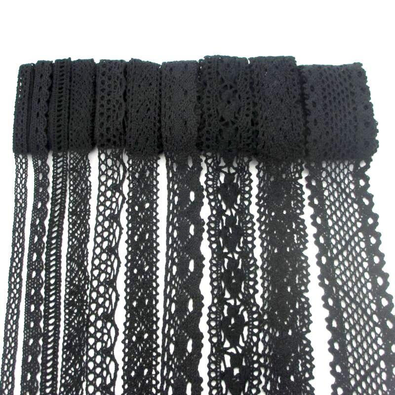 Lucia-artisanat en dentelle noire, 2yards/lot, bordure de tissu rubans pour faire soi-même, accessoires de vêtements pour cheveux, ruban en dentelle brodée N0202