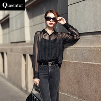 QUEENTOR 2017 Brand Blouse Casual Long Sleeve See Through Fashion Handsome Black Chiffon Shirt Women Wholesale