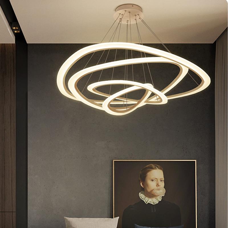 NEO Gleam Modern LED Pendant Lights For Living Room Dining Room 3/2/1 Triangle Rings Acrylic Aluminum Body LED Pendant Lamp