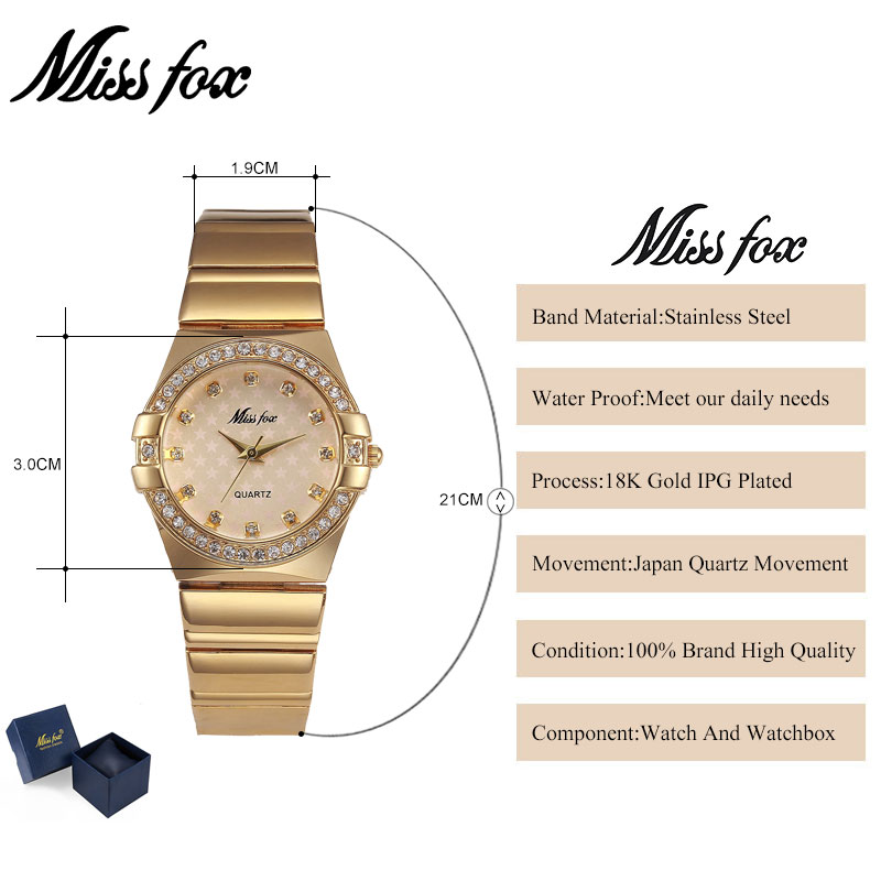 MISSFOX Miss Fox Fashion Watch Women 2018 Silver Waterproof Ladies - Zegarki damskie - Zdjęcie 2