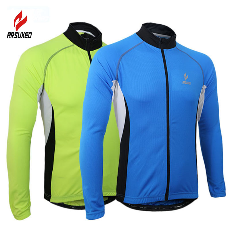 2017 ARSUXEO Men Sports Cycling Jersey Bike Bicycle Running Long Sleeves  MTB Jersey Mountain Bike Clothing e88ba40fc