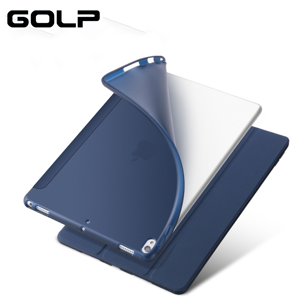 цена на Flip cover For iPad Pro 10.5 Case 2017 Folio 3 Fold Stand Sleep Wake Translucent Soft TPU Back Smart Cover For iPad 10.5 case