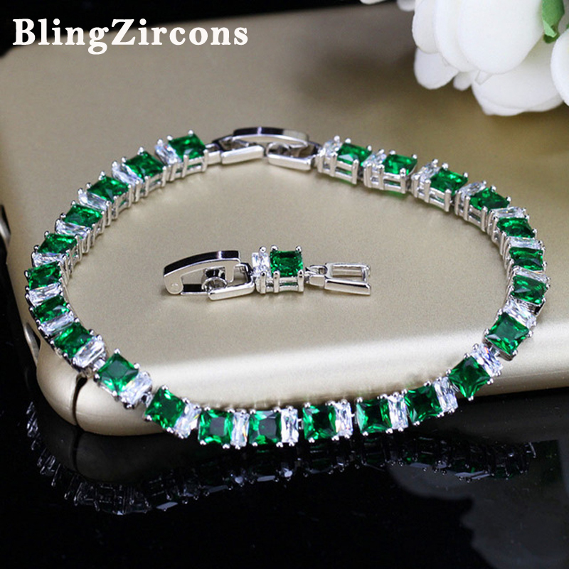 BeaQueen Brand Sterling Silver 925 Jewelry Square Cut Green and White Cubic Zircon Crystal Lovely Pulseras para Mujeres B037