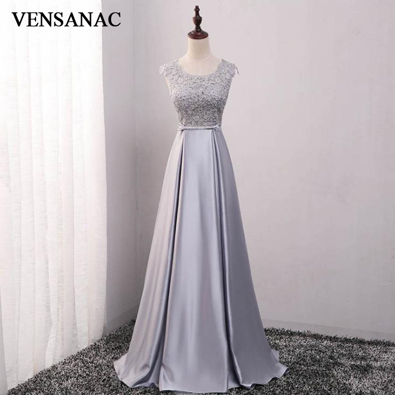VENSANAC O Neck A Line Crystal Sash Long Evening Dresses 2018 Lace Appliques Backless Party Prom Gowns