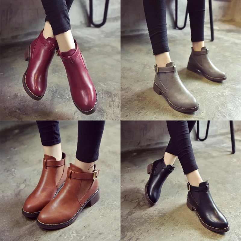 Bayan yarım çizmeler 2019 sonbahar kadın rahat ayakkabılar kadın düz moda platformu yuvarlak ayak toka kayış katı rahat