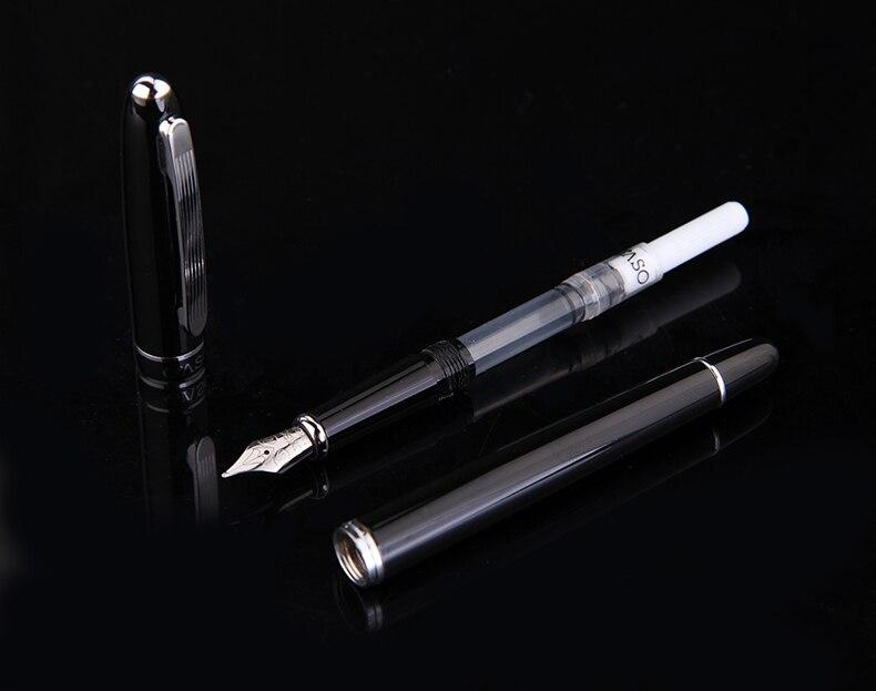 OASO OuroPrata Clipe Fountain Pen Preto 0.5