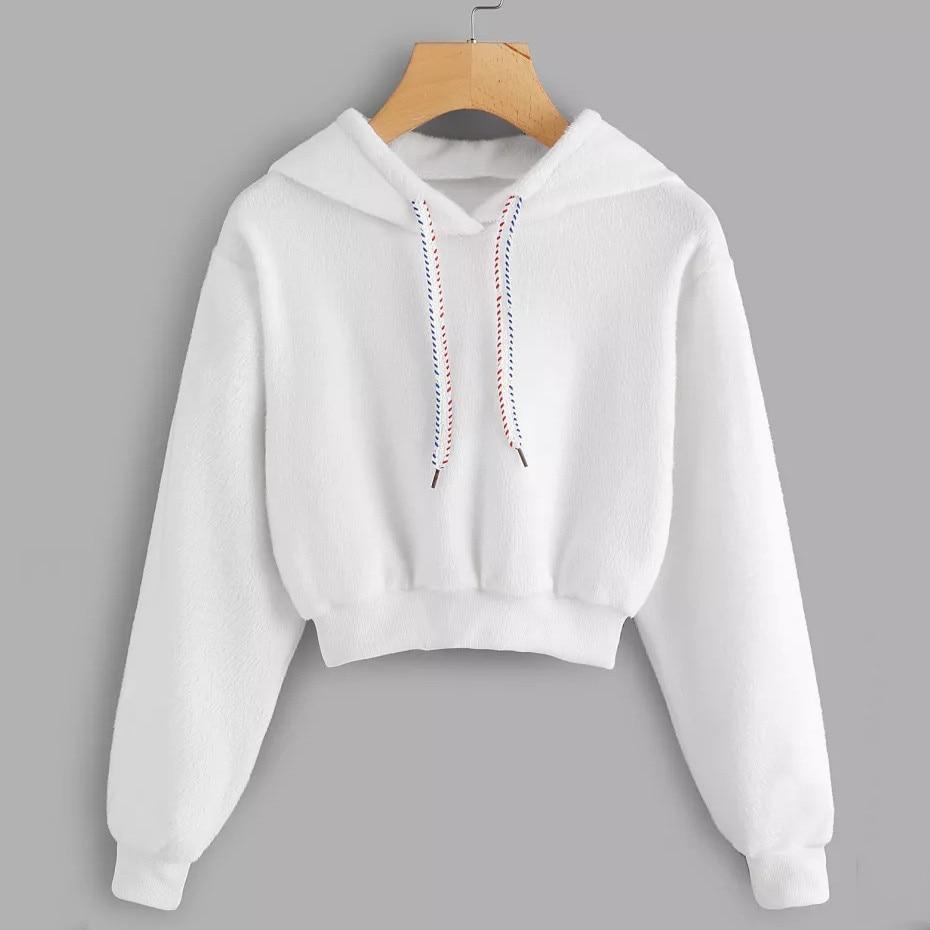 44b11ec9 ISHOWTIENDA women hoodies solid sweatshirt Casual Faux Fur Drawstring Crop Hoodie  Blouse Woman clothes sudaderas para