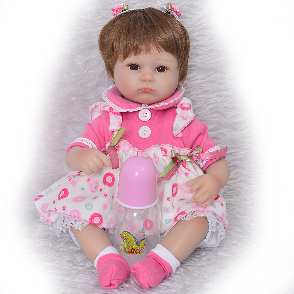 Collectible Silicone Reborn Baby Dolls 17 Inch Realistic Babies Toy Soft Touch Cloth Body Princess Doll Kids Birthday Xmas Gift цена