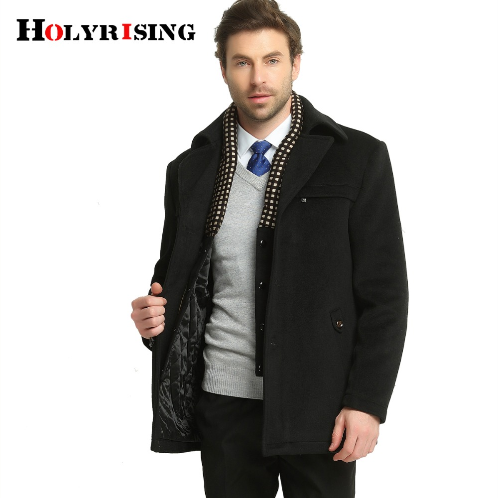 Winter Casual Woolen Jackets Classic Autumn Single Button Business Wool Coat Men Warm Outwear Khaki Black M-3XL Holyrising