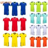 Customized Soccer Jerseys Sets For Men Short Sleeve Blank Football Suit 2017 Team Training Uniform Kit