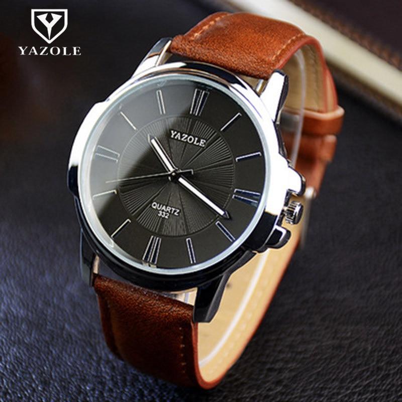 Hot YAZOLE Mens Watches Top Brand Luxury Blue Glass Watch Men Wristwatch Waterproof Leather Roman Men's Watch Male Clock Relojes