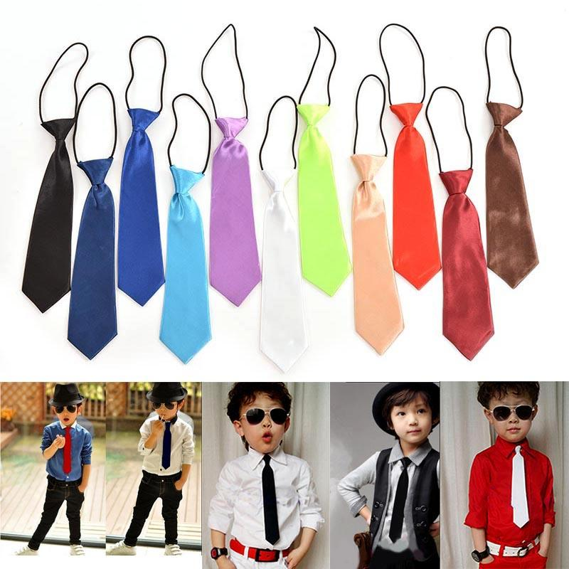 2019 Fashion Polyester Solid Color School Boys Kids Wedding Necktie Solid Color Satin Elastic Tie Children Necktie Wholesale