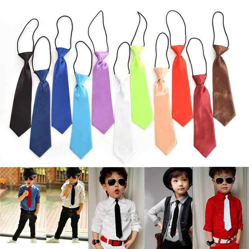 2019 موضة البوليستر بلون مدرسة بنين أطفال الزفاف ربطة العنق بلون الساتان مطاطا التعادل الأطفال ربطة العنق بالجملة
