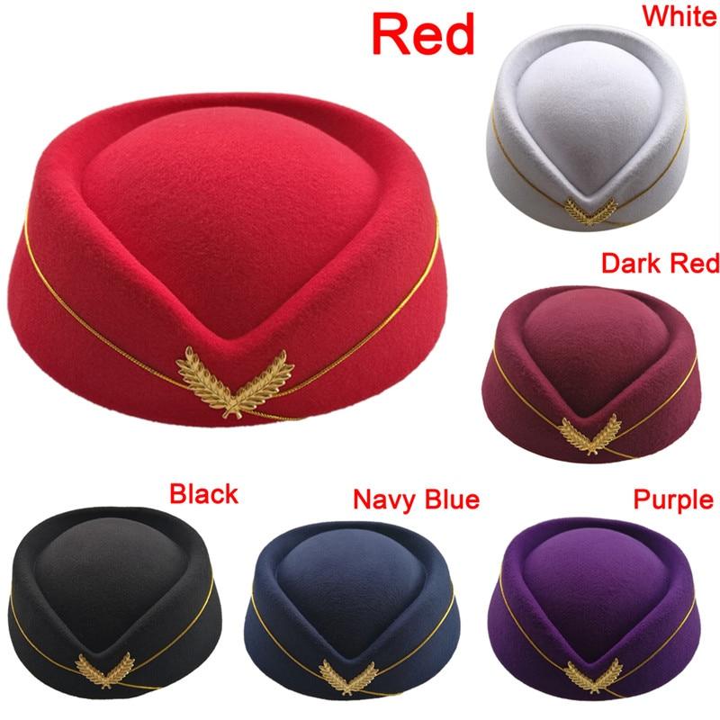 6 Colors Women Ladies Stewardess Hat Wool Fedoras Hats Elegant Airline Costume Etiquette Cap For Women Professionals