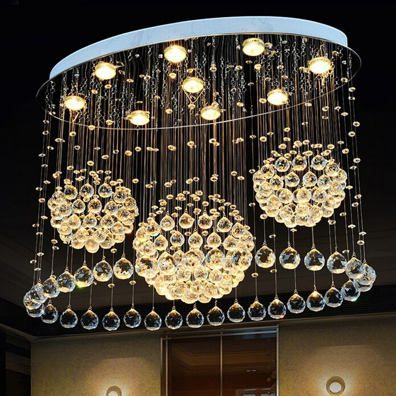 Modern minimalist oval bedroom lighting living room crystal ceiling light creative dining room LED Crystal hang lamps lighting rectangular europe living room crystal lights led ceiling lamps bedroom modern minimalist dining room lighting high quality