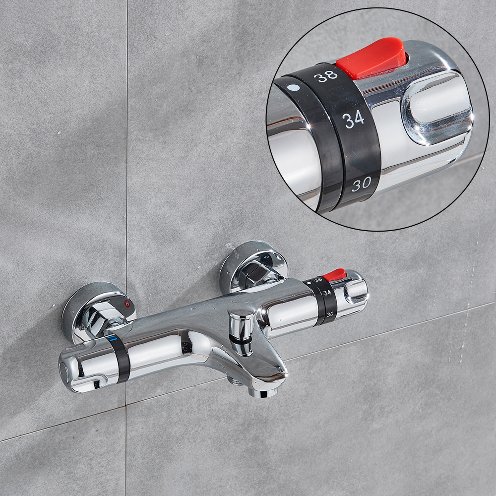 fmhjfisd Bathtub Shower Faucet Thermostatic Valve Wall Mounted Dual Handle Auto Thermostat Control Valve Bath Tap fmhjfisd Bathtub Shower Faucet Thermostatic Valve Wall Mounted Dual Handle Auto-Thermostat Control Valve Bath Tap for Bathroom