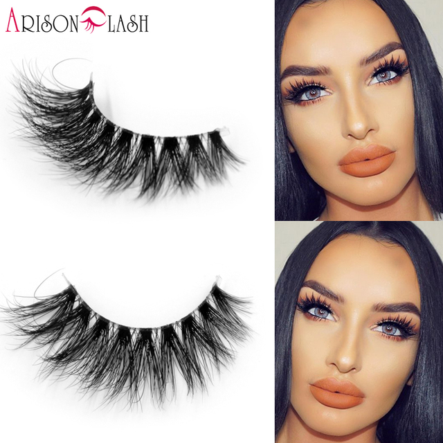 Arison 3D Full Strip Lashes Mink Transparent band lashes 100% Real Siberian Mink Strip Eyelashes False Eyelashes Cathy 017