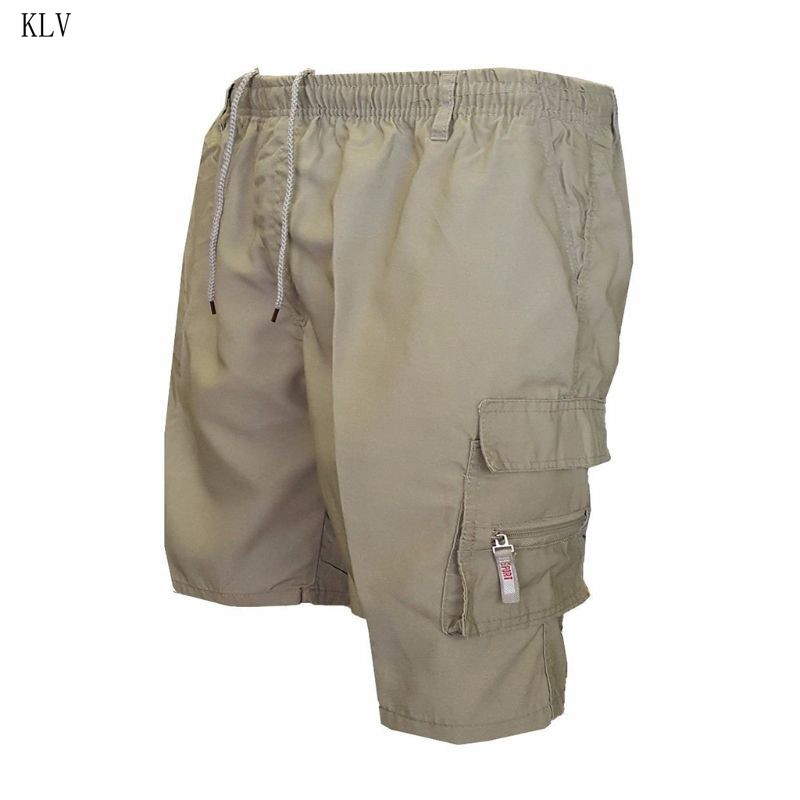 Mens Plus Size Summer Multi Pockets Cargo Shorts Solid Color Drawstring Loose Casual Knee Length Beach Military Sweatpants S-3XL