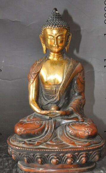 "S2839 8"" old tibet buddhism bronze gilt lotus dragon sakyamuni Tathagata buddha statue"