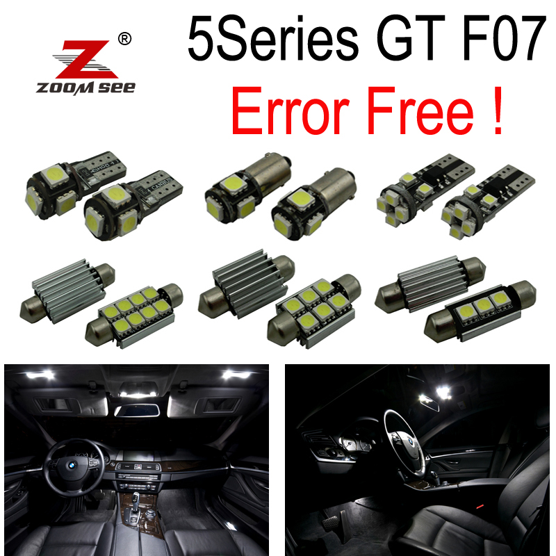 23pc x  Error free LED Interior Dome Reading Light Kit package for BMW 5 series GT 5GT F07 528i 535i 550i GT (2010+) 11x canbus error free led bulb interior light kit package map dome trunk glove license lights for bmw 5 series f10 2011 2017