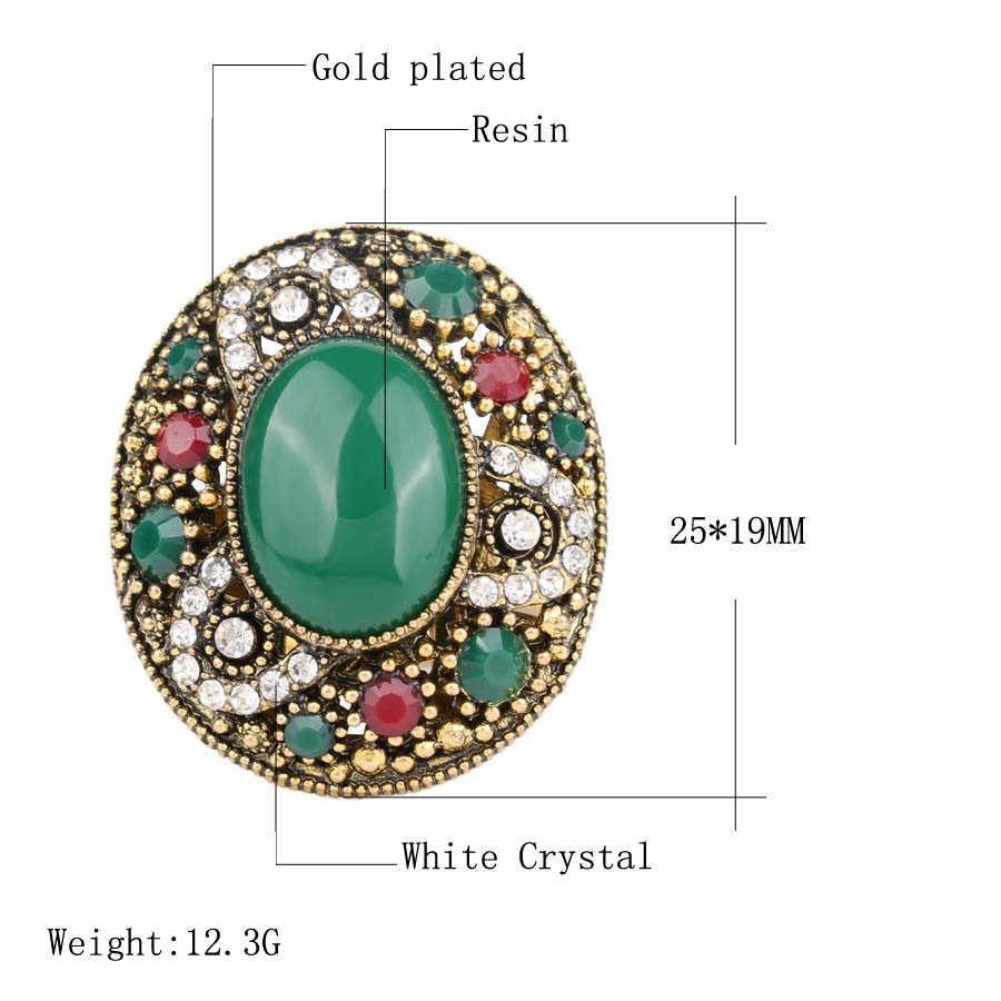Kinel แบรนด์ตุรกีชุดเครื่องประดับสร้อยข้อมือและแหวนทอง-สีหลักรูปไข่หินคริสตัลของขวัญ
