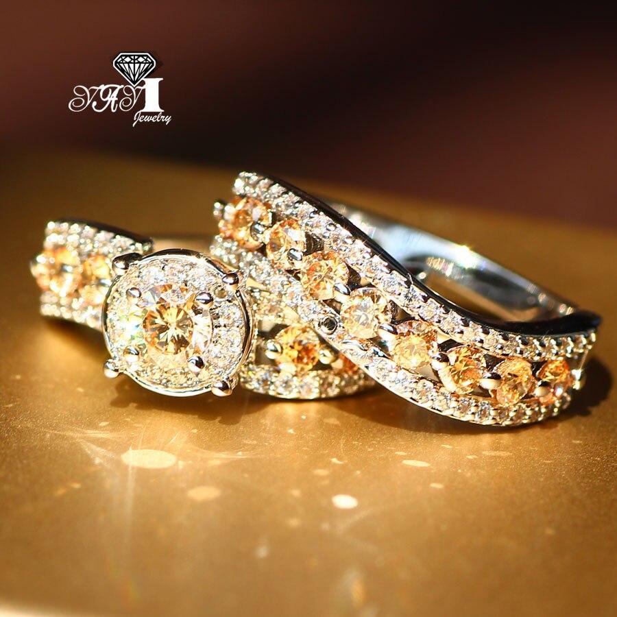 2 Stücke Yayi Schmuck Mode Prinzessin Cut 5,6 Ct Orange Zirkon Silber Farbe Engagement Ringe Hochzeitsringe Partei Ringe Neueste Technik