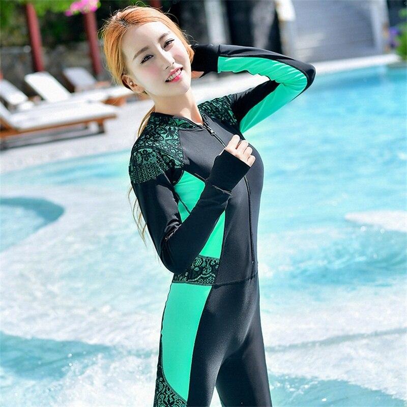 Сексуальный гидрокостюм для женщин, костюм для серфинга, купальник на молнии, цельный костюм для дайвинга, полный костюм с длинным рукавом, ... - 2