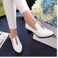 2014 new metal zipper women soft leather shoes sexy women pumps low heel women office dress shoes plus size 33-43 free shipping