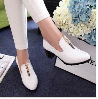 2014 new metal zipper women soft leather shoes sexy women pumps low heel women office dress shoes plus size 33-43 free shipping
