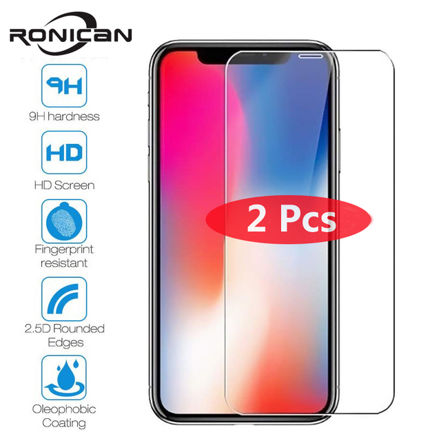 2 Pack Tempered Glass For iPhone XS MAX XR 4 4s 5 5s 5C SE Screen Protective Film For iPhone 6 6s 7 8 Plus Glass Protector Case
