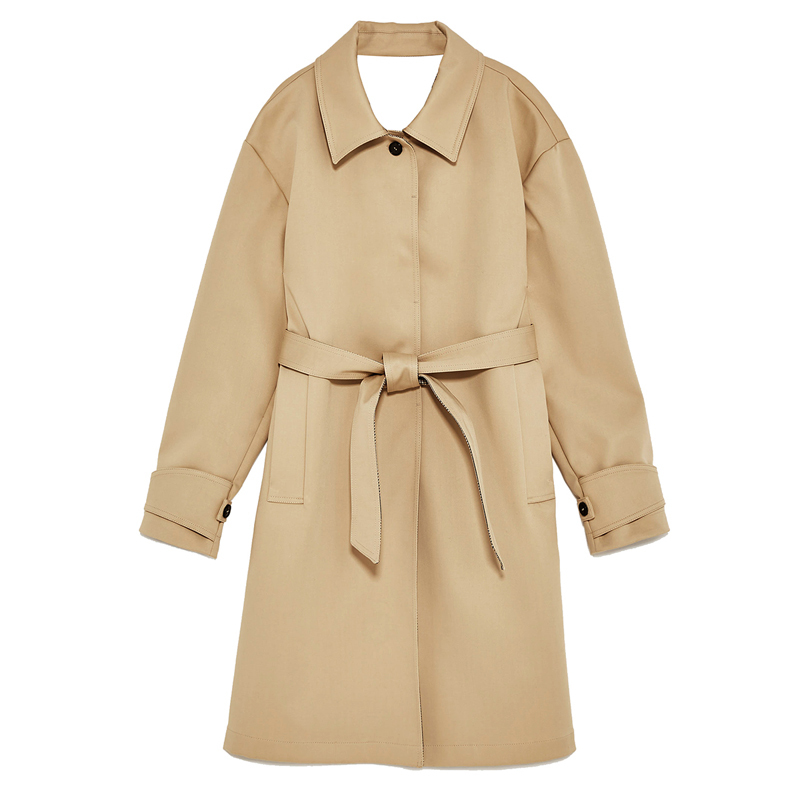 Women Outwear Turn Down Collar Single Breast Clothing Office Lady Style Sashes Long New   Trench   Loose