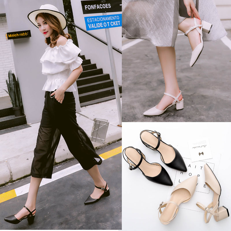 2018 new style European and American high pointed summer sandals The word is thick with the middle heel womens